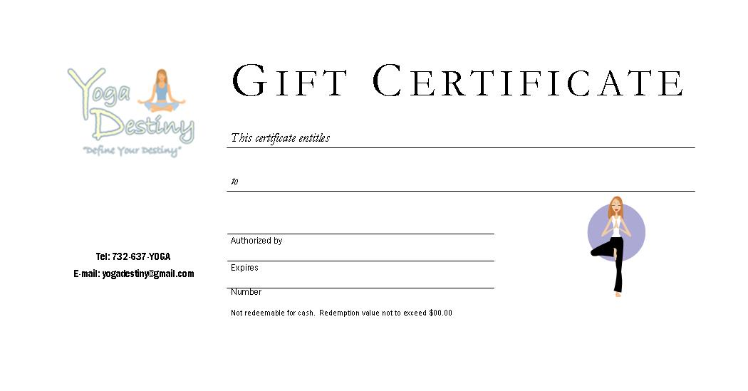 yoga gift certificate template free - shop yoga destiny